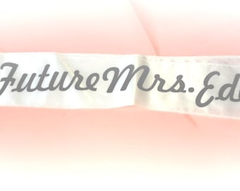 Future Mrs Last Name Sash / Custom Bride Sash / Personalized Bachelorette Party Sash / hot Pink / Aqua / White / Plus Size Sash / Weddings