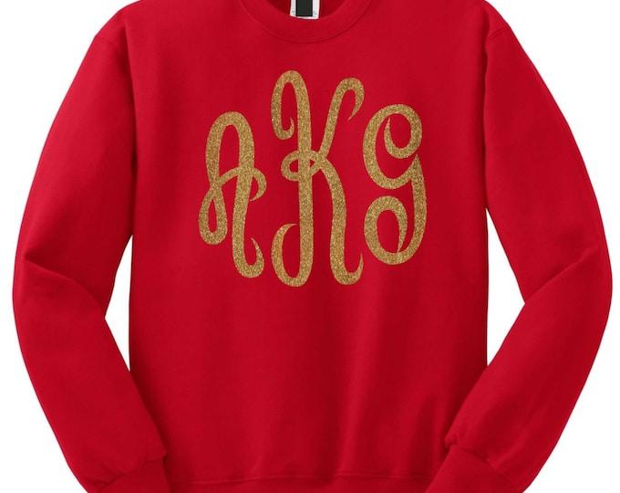 Christmas sweater monogrammed sweatshirt with 3 initials- script monogram sweatshirts . Monogrammed gifts- monogram gold glitter shirt