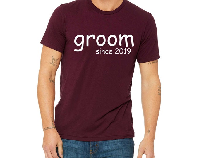 Groom t-shirt - Groomsmen maroon shirts - Groom with year - Groom , best man shirts , t-shirts for bachelor party , custom shirts for men