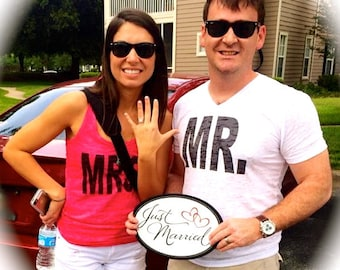 Mr and Mrs pink ink shirts. Bride and groom t-shirts. Wedding shirts. Mr and Mrs honeymoon t-shirts. Bohemian soft burnout shirts. bride tee