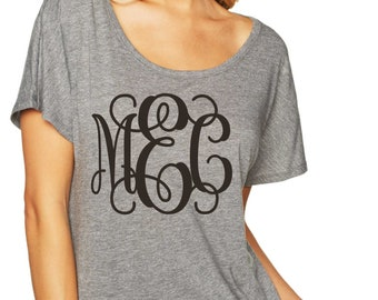 Bridesmaid Shirts , Three initial monogram shirt , long , flowy , oversized bridesmaid tshirts , wedding shirts , bridesmaid outfits.