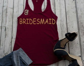 Bridesmaid maroon gold glitter tank top - Cute bridal party shirts - Tank Tops bachelorette party - Women's bridesmaid getting ready tanks