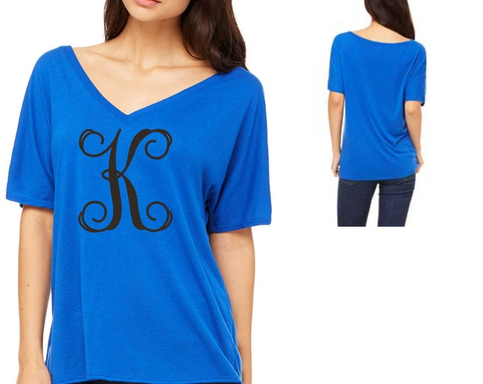 Cute monogram shirt , v neck slouchy monogrammed t-shirt , one initial shirt , gifts for her , best friend , cute monogrammed t-shirt womens