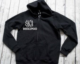 monogram zip up hoodies . Wedding party zip up. Bridesmaid Gifts . Bridesmaid hoodies - bridesmaid sweatshirts - monogram on FRONT or BACK