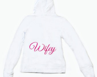 OVERSTOCK small bride hoodie. Wifey hoodie/ Bridal Shower Gift / wedding apparel  / bride zip up hoodie / bride fitted sweatshirt