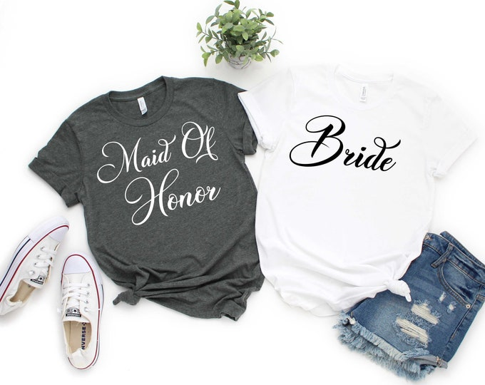 Maid of Honor shirt , Bridesmaids' gifts , bridesmaid proposal , getting ready outfit , Bride, Matron of Honor, Mother of The Bride tshirt