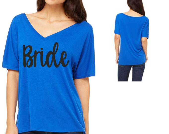 Bride v-neck shirt / womens bride t-shirt / bridal shirt / bride tees / bridesmaid / maid of honor / maroon / gold / mauve / blue / white