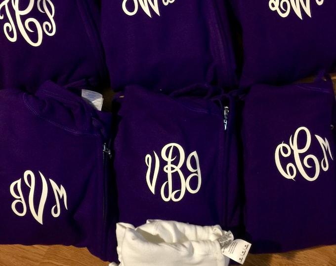8 bridesmaid hoodies with zipper . Monogram shirts- Bridesmaid Gifts. Bridesmaid zip up with hoods - 7 bridesmaid sweatshirts with monogram