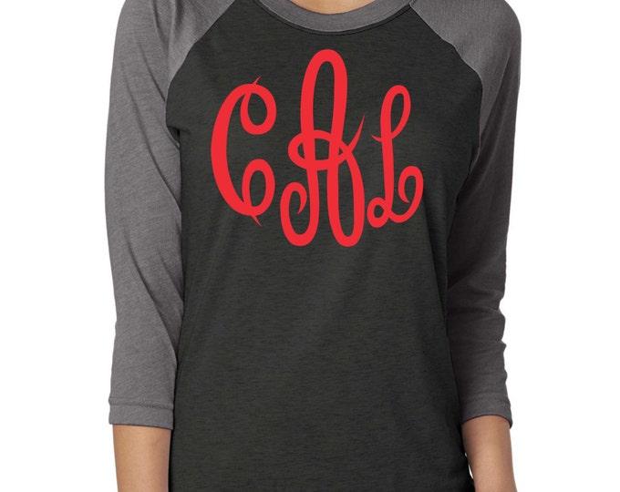 Bridesmaid gift ideas . Monogram baseball shirt . Monogram glitter shirt . unisex Monogram Raglan  red black and grey big  monogram shirts -