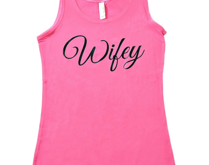 Wifey Black Ink Tank / Bride Print Tank Top / Bride Jersey Knit tanks / Bride to Be gift / Wedding shower Gift / Bridesmaid / Maid of honor