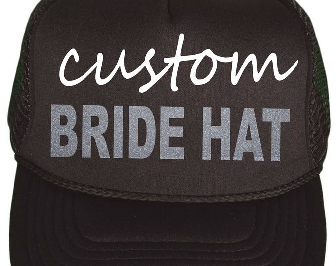 custom glitter bachelorette hats - personalized bridesmaid hats - wedding party hats- bridal party hats- bridal entourage, bride's team