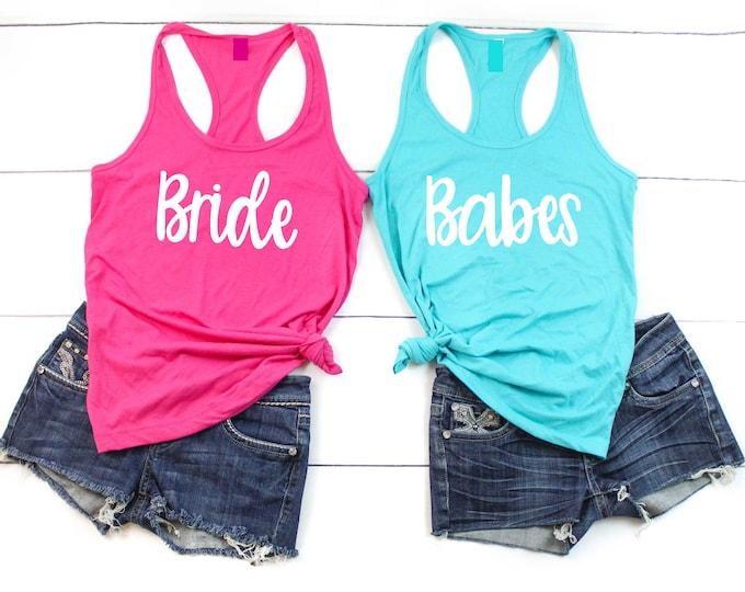 Babes Bride shirts / Babe tank top / bachelorette party shirts / Bachelorette tanks / bridesmaid proposal / Bridesmaid babes shirts / Bridal
