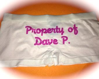 Personalized Bride Panties. Property of the Groom Panties. Bride to be boy shorts. Print bride underwear. Personalize bride panties. Custom.
