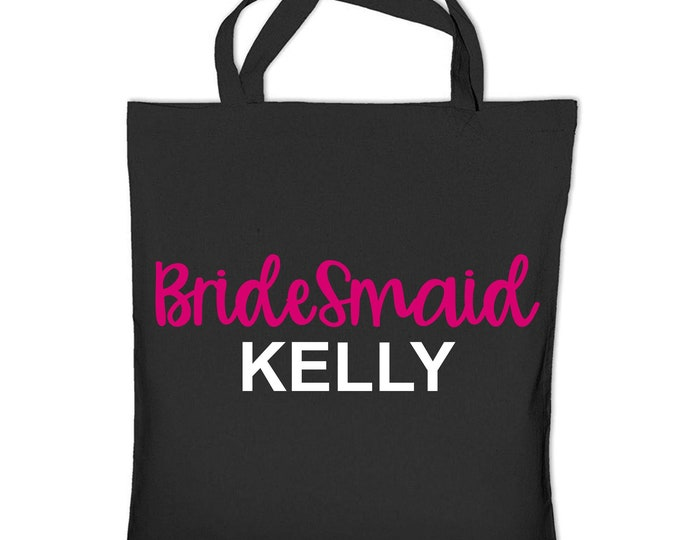 Bridesmaid personalized tote bag, bridal party totes, custom name bridesmaid bags, pink, white, black, purple, pink, orange, green, blue