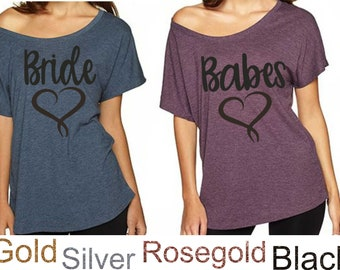 Bride Shirts , Babes Oversized Bridal Party Tees , Bachelorette shirts , Cute Bridesmaid t-shirts , Tank Tops , Off Shoulder Bridal Shirts