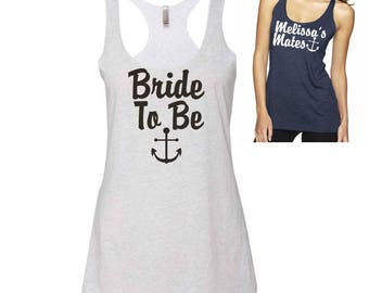 Nautical Bride Tank . Bride Tank Top with Anchor . Bridesmaid Tank Tops . Beach Bride Shirt . Beach Bachelorette Party Shirts .