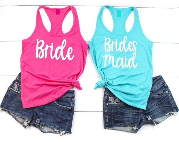 Squad bride tank tops / bachelorette party bridesmaid tanks , racerback bridesmaid shirts , bridesmaid proposal , bridesmaid tank