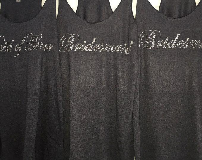 Bridesmaid rhinestone t-shirts, Pretty Bridesmaid tank tops , Elegant bridal party shirts with rhinestones , bridal party gift, presents