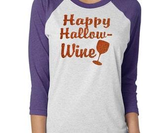 Raglan Happy Hallo-wine Shirt. Ladie Halloween Cute Fall shirt. Baseball Glitter shirt. unisex raglan glitter shirt. Ladies halloween shirt