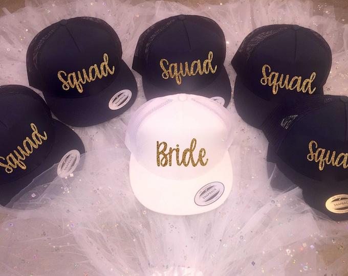 Squad and Bride gold glitter baseball caps / bachelorette party hats / Bachelorette trucker cap / bridesmaid hats / bridesmaid proposal gift
