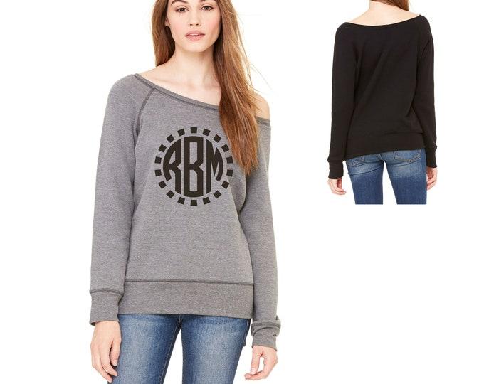 Tribal Monogram sweatshirt, Womens circle monogrammed shirts, winter sweaters, slouchy, off shoulder sweater , christmas gift ideas,