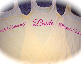 Set of 4 , 5, 6, 7, 8 Bridesmaid Tank tops . Womens Bridesmaid Shirts . Getting Ready shirts . Bridesmaid Tanks , Bridal Party Tank Tops.