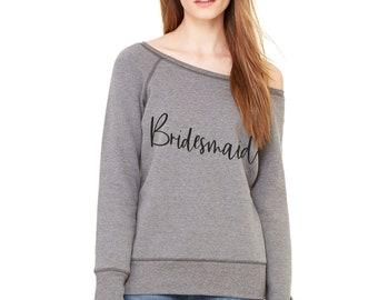 Bridesmaid grey sweatshirt , slouchy pullover bridesmaid fleece sweater , bridal party shirts , sweatshirts , sweaters , off shoulder