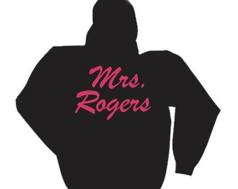 Bride pullover hoodie- personalized Mrs last name hoodie- Bride Gift - sweatshirt- Black/ pink Ink - BACKSIDE
