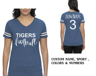 Custom Football shirt , Mom tshirt , Football tshirts , Football jersey personalized, royal blue, navy blue, hot pink, black, grey, purple