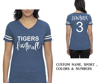 Custom Football shirt , Mom tshirt , Football tshirts , Football jersey personalized, royal blue, navy blue, hot pink, black, grey, purple