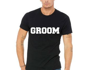 Groom Shirt. Groom Print T-shirt. Groomsmen Shirts. Bachelor Party t-shirts. Wedding Shirts. MR T-shirts. Black, Royal Blue, purple, White.