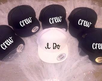 I do and crew baseball caps / bachelorette party hats / bachelorette gifts / beach bach party hats / bridesmaid baseball caps / bridal party