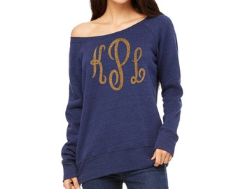 Navy Blue and Gold monogram off shoulder xmas sweatshirt .  monogram shirts for women . monogram sweatshirts . initial sweatshirts - XL, XXL