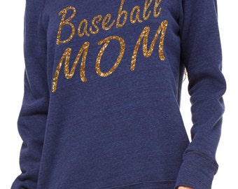 Baseball Mom Sweatshirt. Baseball Clothing. Baseball Shirt- Comfy glitter Oversized pullover, off the shoulder, slouchy Shirts.