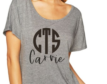 Custom name and Monogrammed Shirt , cute bridesmaid tshirts, wedding party tees, off the shoulder, slouchy, oversized bridesmaid tshirts