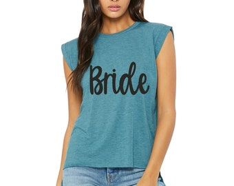 Bride Muscle cuffed shirt / cute bride t-shirt / soft bride to be shirt / beach bride / bridesmaid t-shirts / bridal party shirt / weddings