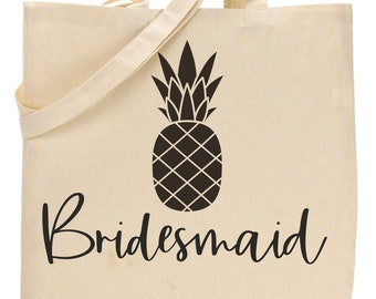 Pineapple Bachelortte totes, Canvas Bridesmaid large Tote Bags , Bride and Bridesmaid cotton tote, black, natural, purple, custom totes