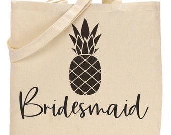 Pineapple Bachelortte totes, Canvas Bridesmaid large Tote Bags , Bride and Bridesmaid cotton tote, black, natural, purple, custom totes