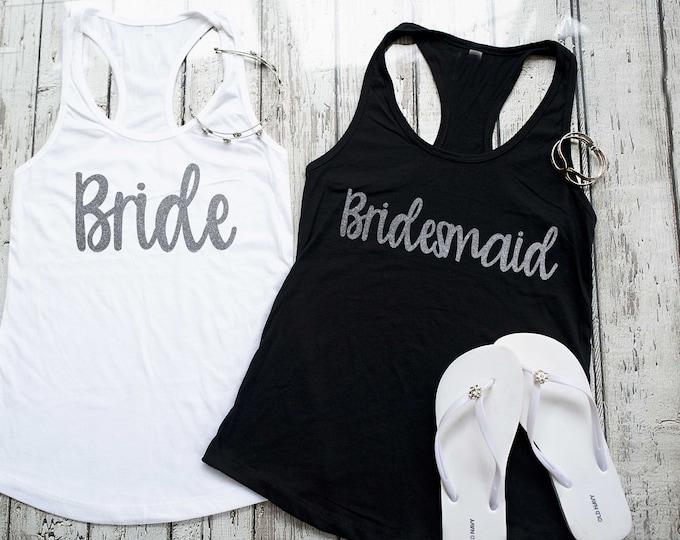 Silver Glitter Bridesmaid tank top , Cute getting ready outfit , Bridal party shirts , Bridesmaid tanks , Bridal party tops , Maid of honor
