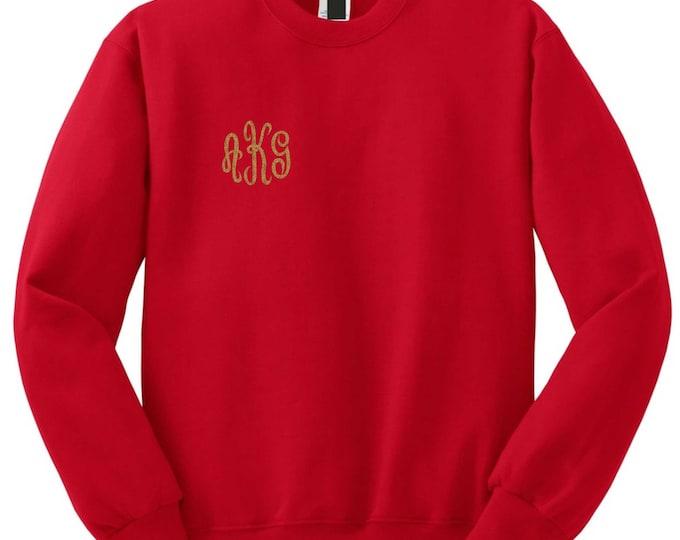 monogrammed crewneck sweatshirt . Monogram sweatshirt . monogram sweater . Custom monogram - 3 X 3 design in corner - plus sizes - oversized
