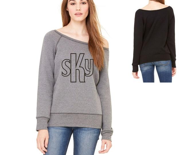 Ladies Sweatshirt , College Style Monogram sweaters , college graduation gift , birthday gifts off shoulder, christmas gift ideas,