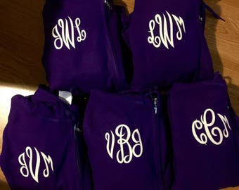monogram zip up hoodies . Wedding party zip up. Bridesmaid Gifts . Bridesmaid hoodies - bridesmaid sweatshirts - monogram on FRONT or BACK