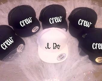 I do and crew hats - bachelorette party beach caps - baseball cap - bridesmaid hats - bridesmaid baseball flat bill cap - trucker hats