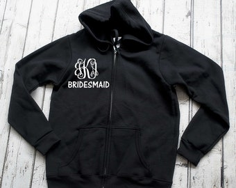 7 womens monogram zip up hoodies . Monogram shirts- Bridesmaid Gifts. Bridesmaid zip up with hoods - 7 bridesmaid sweatshirts with monogram