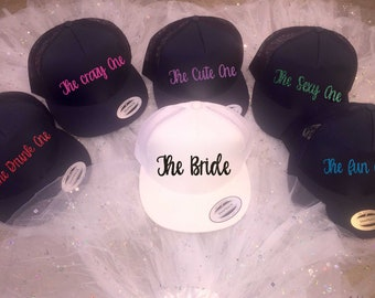 Bridesmaid baseball caps / Bachelorette party custom hats / glitter beach caps bridesmaid / bachelorette trucker hat /  Personalized hat