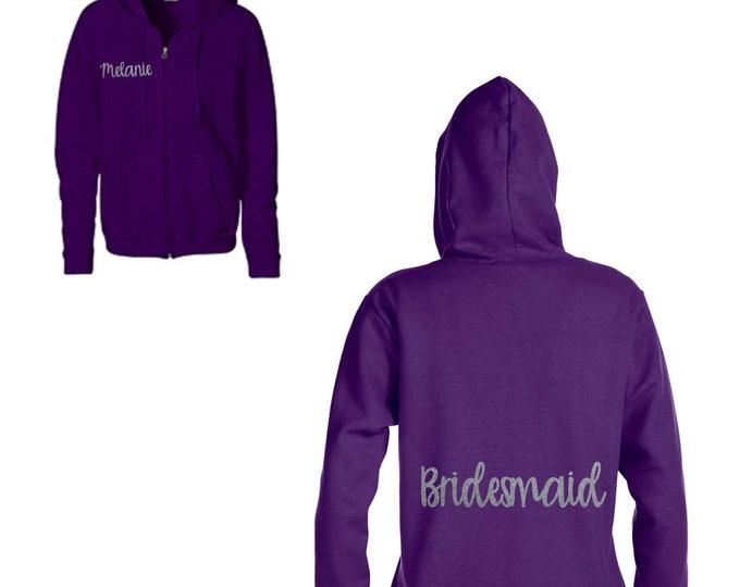 Ladies Maid of honor hoodie / Small, medium, large, XL , XXL / Bridesmaid Zip up hoodies / Bridal Party hoodies / Pink / Purple / Grey