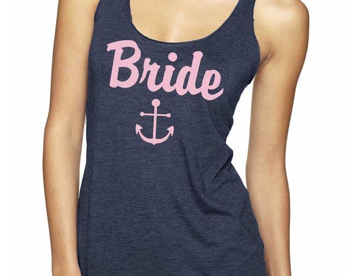 Racerback Bride Anchor Tank Top , Pink and Navy Nautical Bride Tank , Bride To Be Tee , Bride Shirt , Weddings , Bridal Shirts, bachelorette