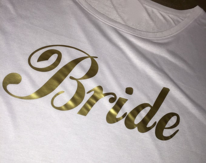 Bride Shirt . Gold Writing Bride Short Sleeve dolman sleeves shirt . Ti-Blend Short Sleeve Wide neck Bride to be t Shirt . Shower Gift