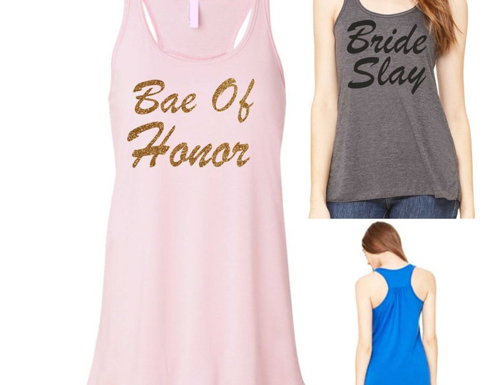 bae of honor Tank Top. Ladies Maid Of Honor Shirt , Bride Slay Shirt , Gold glitter and light dusty pink Tank Top- Bridesmaid gifts