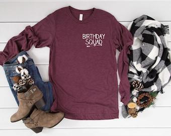 Birthday squad simple shirt , cute long sleeve birthday shirts , Nashville party shirt , girls weekend t-shirt , birthday arrow heart tops
